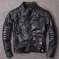 Бесплатная доставка. новая стильная теплая мужская одежда, кожаная куртка для мотоциклистов s, Мужская Черная куртка из натуральной кожи.