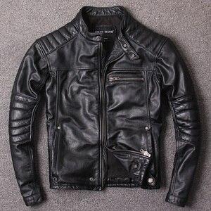 Image 2 - จัดส่งฟรี.สไตล์วินเทจMens Cowhideเสื้อผ้า,คุณภาพBikerแจ็คเก็ตหนัง,หนังแท้สีดำCoat homme Slim,