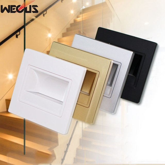 (WECUS) Hotel engineering special lamps, 86 face frame foot lights, Embedded wall lights,5pcs/package