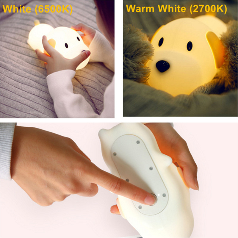 Image 3 - Dimmable Led Night Light Lamp Touch Silicone Puppy Cartoon for Baby Children Kids Gift Bedside Bedroom Living Room Decoration-in LED Night Lights from Lights & Lighting