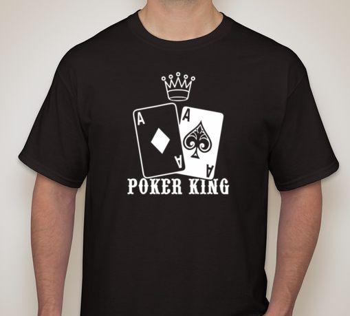 POKER KING AA Pocket Aces T shirt Texas Hold em Gambling Gaming Print T-Shirt Summer Style Men O-Neck Tee Shirt