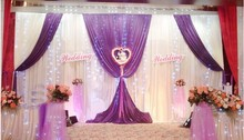 Romantic white and purple Ice Silk Wedding Backdrops for Wedding Decoration Stage Backdrops Curtain with sequin