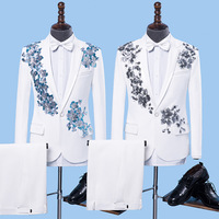 2018 men sequins suit costumes singer host two embroidered stage suit