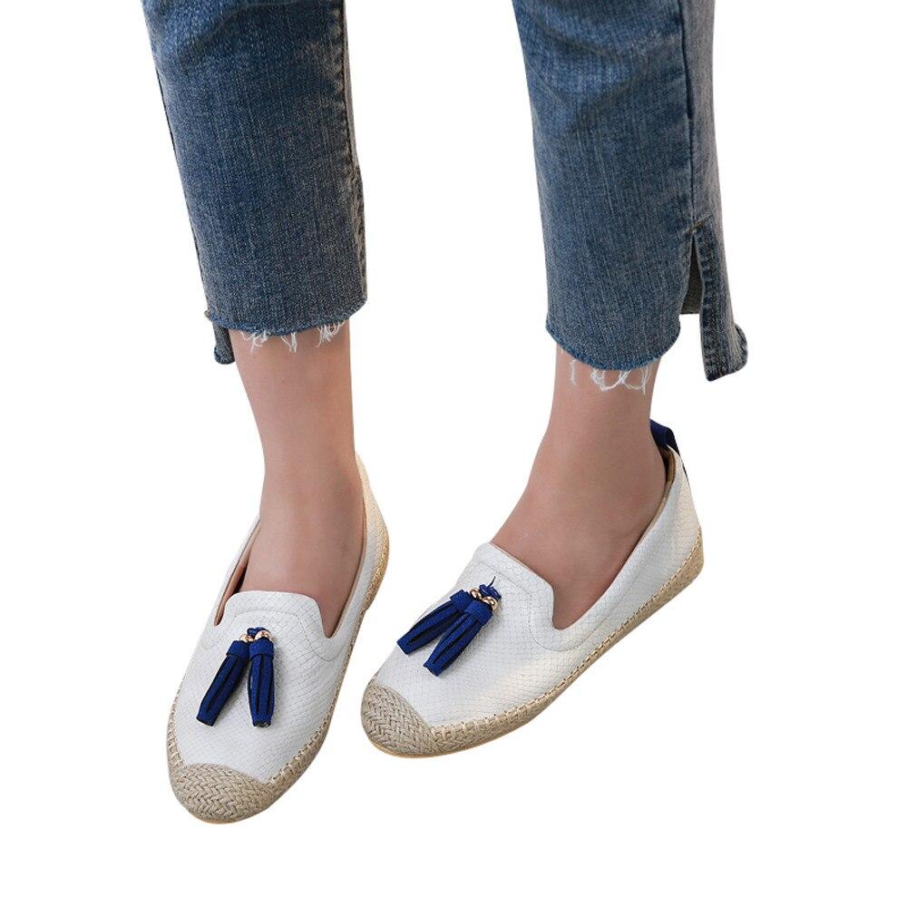 YOUYEDIAN Women's Comfortable Casual shoes Women's Slip On  Ballet Flats Slacker Tassels shoes sapato feminino confort vel#F4