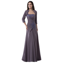 Neue Stil frauen Elegante Schulter Lange Günstige Abendkleid formelle Applique Kristall Mutter der Braut Kleid mit Jacke 2016