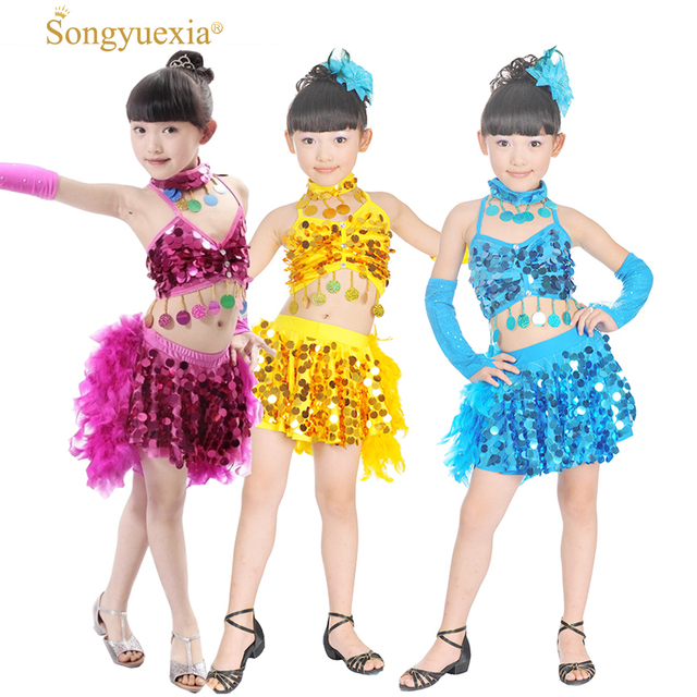 2eac023c1 Songyuexia Children New Feather Dance Costumes Sequin Latin Dress Children  For Kids Girl TOP Skirt stage Dance Costumes