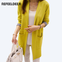 Refeeldeer Long Cardigan Female 2017 Autumn Winter Women Long Sleeve Cardigan Plus Size Sweater Cardigan Women