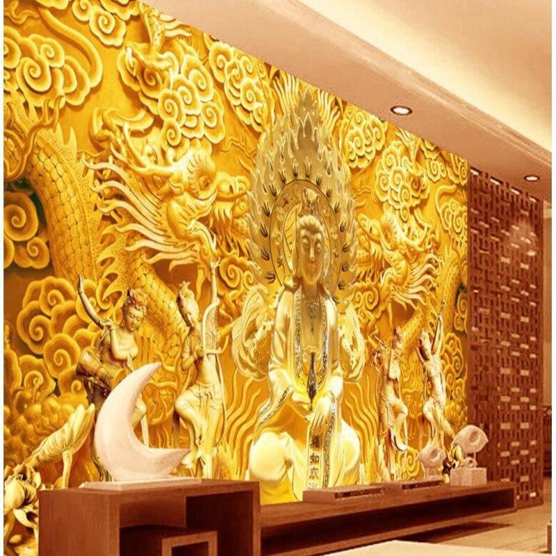 beibehang Custom Wallpaper Chinese Golden Goddess of Mercy Chinese ...