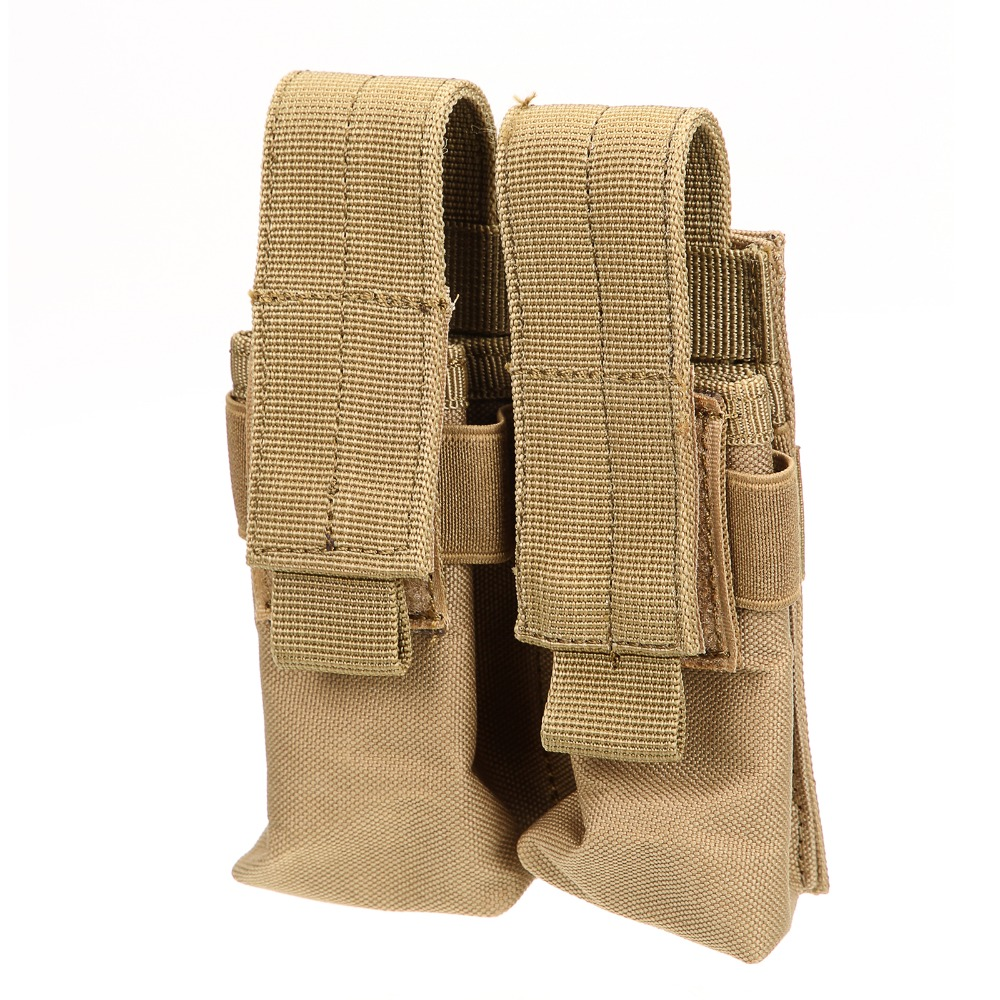Hot selling Tactical Molle Double Cartridge earthy yellow Clip Bag Pistol Magazine Mag Pouch Carry Bag