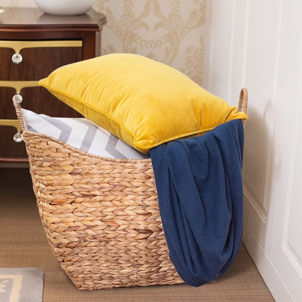 Giantex Large Woven Seagrass Storage Basket Wicker Pattern Baskets Handles Organizer HW58961 stylish solid color batwing sleeve asymmetrical tops for women
