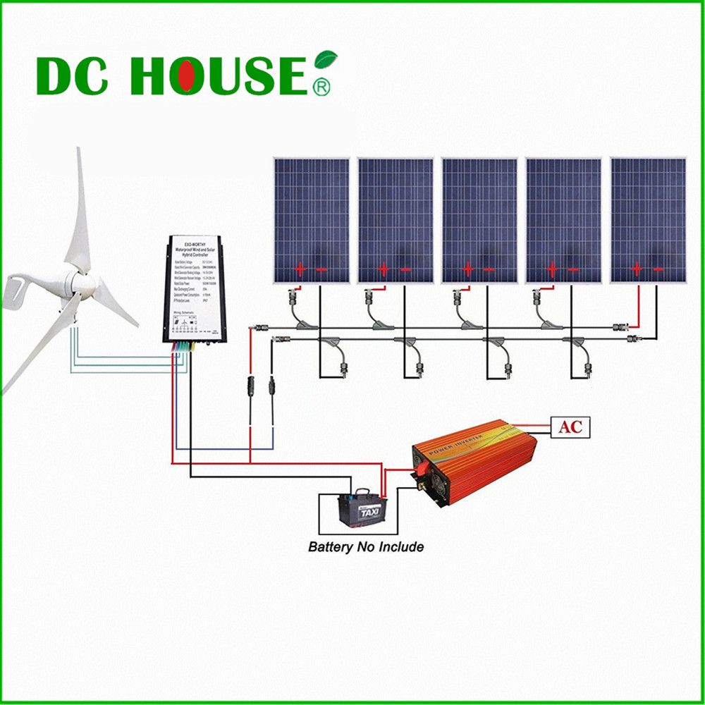 DC HOUSE 400W Wind Turbine Generator  5pcs 100W Solar Panel  1KW Pure Sine Wave Inverter usa stock 880w hybrid kit 400w wind turbine generator