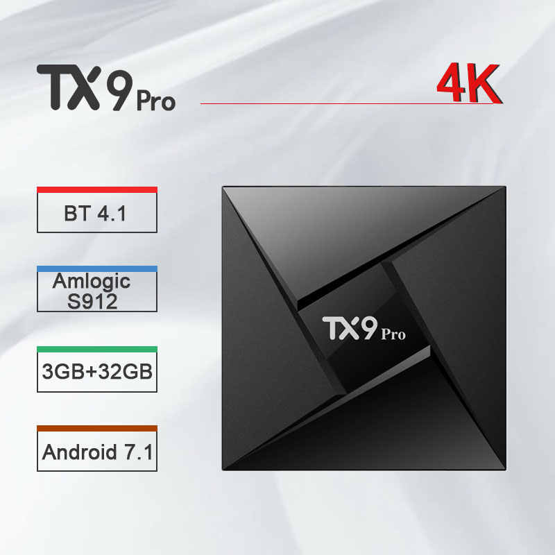 Tanix TX9 PRO TV Box Android 7.1 Set Top Box Amlogic S912 3GB RAM 32GB ROM 2.4/ 5.8GHz Wifi 4K Bluetooth 4.1 PK H96 Pro X96 Mini