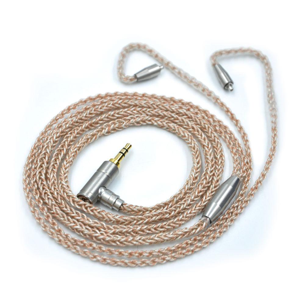 Prix pour Wooeasy 8 Core Or Plaqué Câble 3.5mm Or Câble Avec Connecteur MMCX Pour LZ A3 A4 DQSM VT Écouteur FSX-007