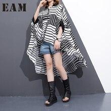 [EAM] Лидер продаж 2017 года новый летний Круглый Воротник Половина рукава Большие размеры Свободная рубашка в полоску Женская мода прилив J51701