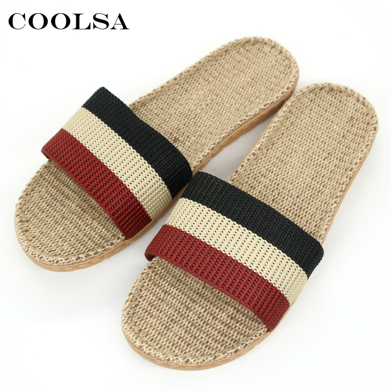 Summer Men Linen Slippers Indoor Home Slipper Flat Non Slip Male Linen Shoes Sneakers Casual Men's Flax Slippers Beach Sandals