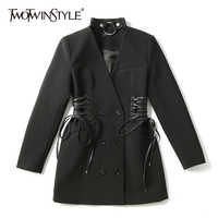 TWOTWINSTYLE Lace Up Blazer Dress For Women Halter Long Sleeve Tunic High Waist A Line Mini Dresses Autumn 2019 Fashion Sexy