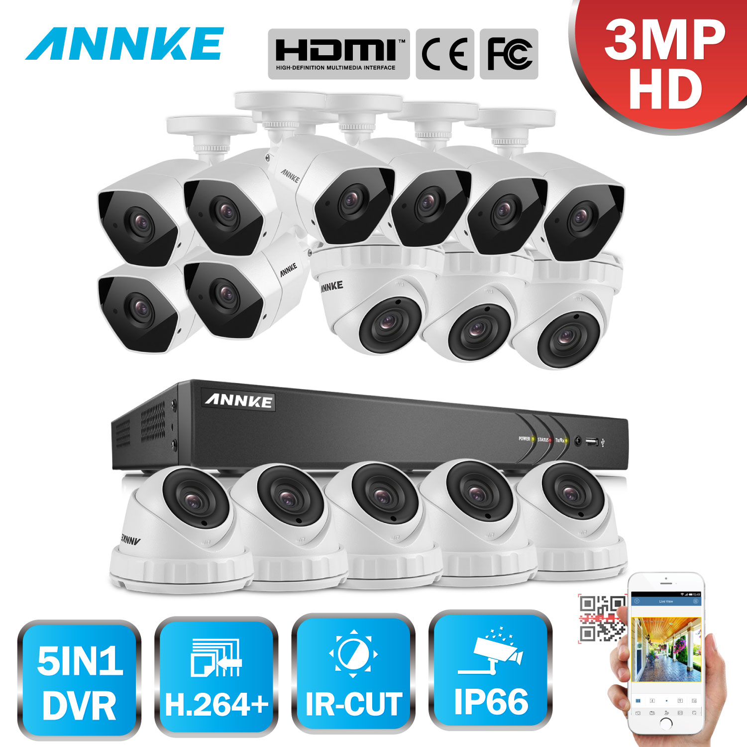 ANNKE Full HD 16CH 3MP 1920*1536 CCTV System H.264+ DVR 16pcs Security IR Outdoor Waterproof Camera 3MP Video Surveillance Kit home security system 16ch h 264 motion detect camera system dvr kit with 800tvl waterproof outdoor ir night vision cctv camera