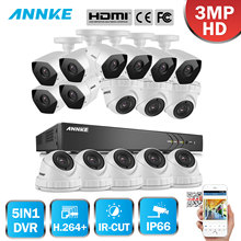 ANNKE Full HD 16CH 3MP 1920*1536 CCTV System H.264+ DVR 16pcs Security IR Outdoor Waterproof Camera 3MP Video Surveillance Kit