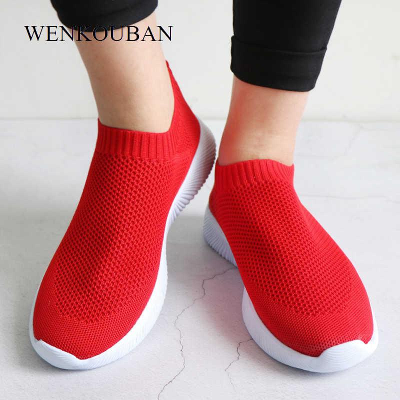 2019 Женские кроссовки модные носки повседневные белые кроссовки летние трикотажные вулканизированные туфли женские кроссовки tenis feminino 2019