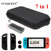 IVYQUEEN 7 In 1 For Nintend Switch Console Hard Carrying Storage Bag Tempered Glass Screen Protector