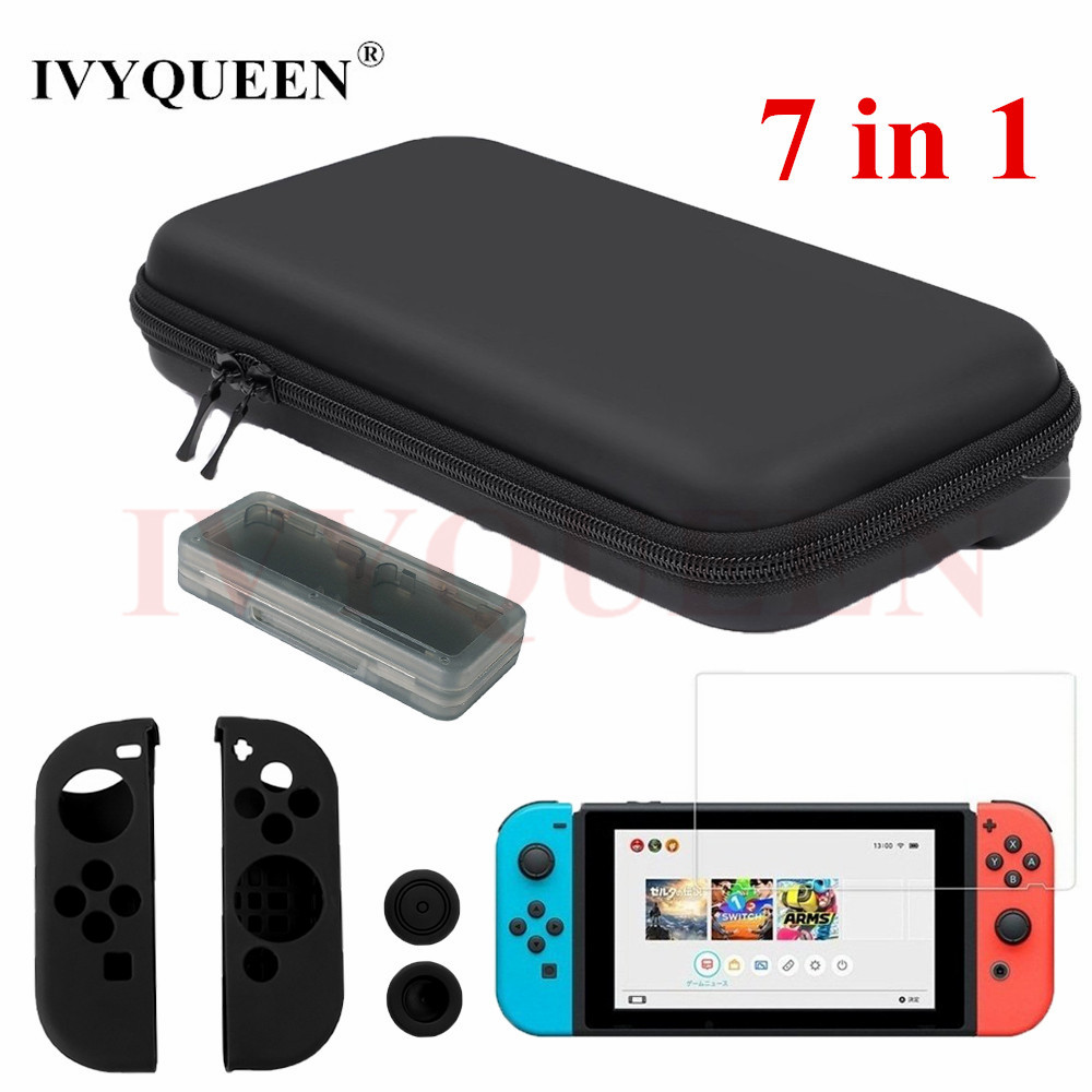 IVYUEEN 7 in 1 for Nintend Switch Console Hard Carrying Storage Bag Tempered Glass Screen Protector + Controller Silicone Case eva protective hard case shell travel carrying game console storage bag holder pouch for nintend switch console with hand strap