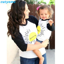 Matching Mother Daughter Clothes T Shirt You Are My Sunshine Printed Mom And Daughter Family Look Long Sleeve T-shirts Outfits