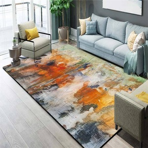 Image 3 - Nordic INS abstract watercolor doodle mat home bedroom bedside entrance elevator floor mat sofa coffee table anti slip carpet