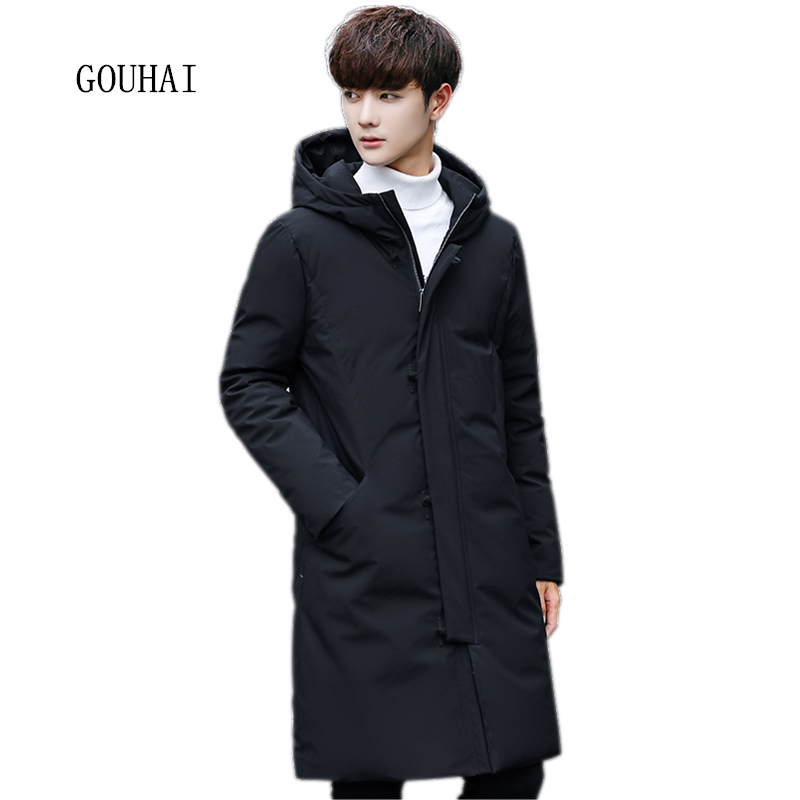 90% White Duck Down Jacket Men Hooded 2017 Fashion Winter Jacket Men Warm Solid X-Long Coat Man Feather Jacket Men Plus Size