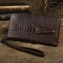 2019 Men Wallet Clutch Genuine Leather Crocodile Head Wallet Male Long Coin Purse  Boy Money Organizer Cell Phone Clutch Bag недорого