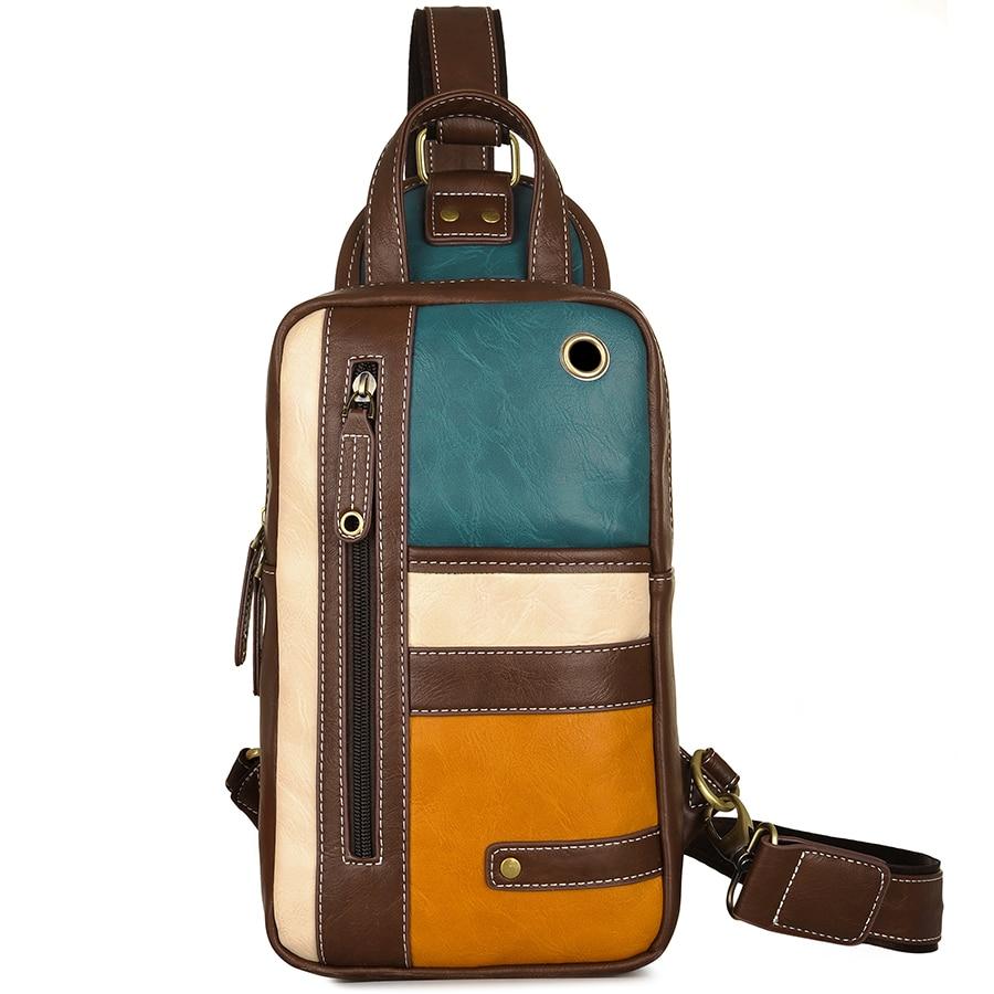 JackKevin 2019 Men's Fashion Crossbody Bag Retro Rivet Zipper Open Leather Chest Bags Men Shoulder Bags Chest Waist Pack