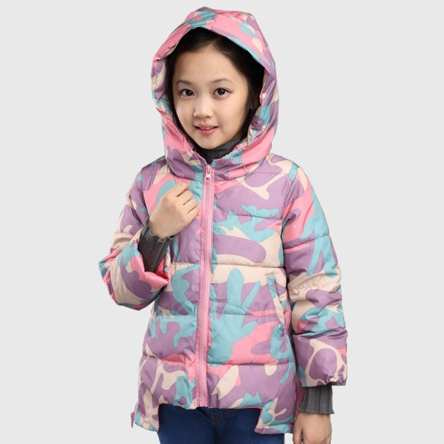 2015 crianças meninas jaqueta com capuz de algodão camuflagem meninas engrossado crianças de algodão para baixo casaco de algodão