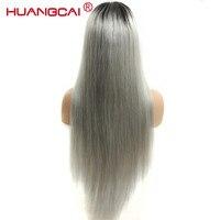Ombre 1b/серый парики 150% плотность шелковистой прямо бразильский человеческих волос Синтетические волосы на кружеве al парик Серый Синтетическ