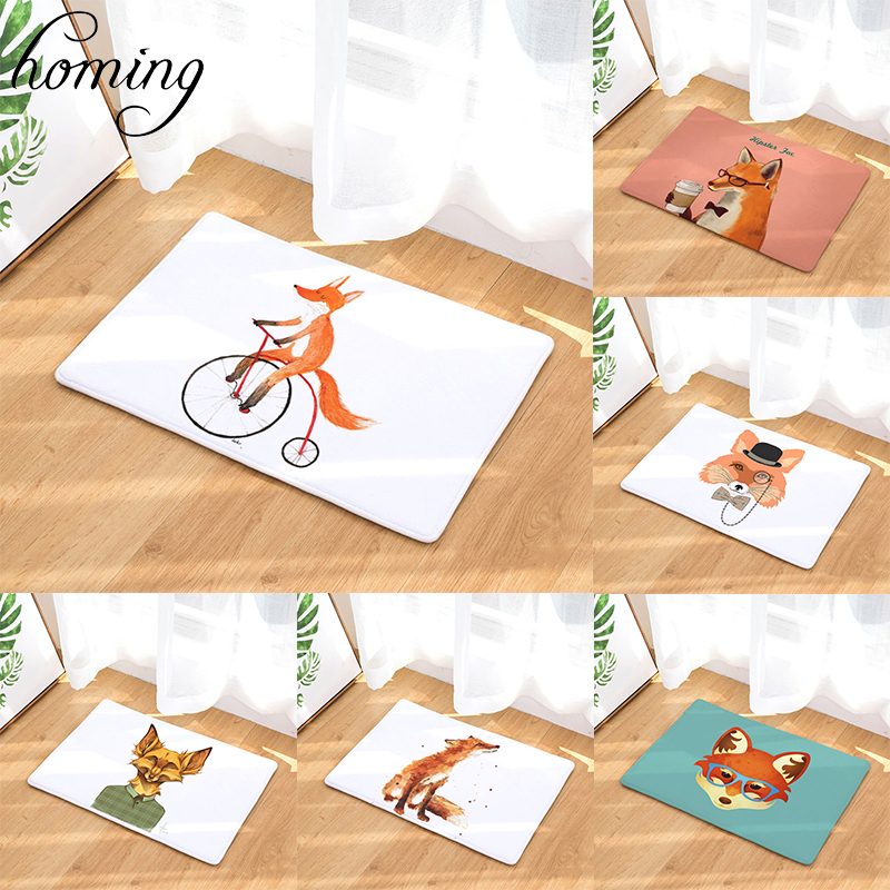 Homing New Arrive 40*60cm Light Flannel Cartoon Funny Fox Pattern Mats Anti Slip Door Rugs Water Absorption Mat Home Decor Art