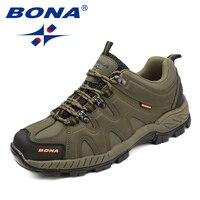 BONA/Новое поступление классический стиль для мужчин треккинговые ботинки кружево до Мужская Спортивная обувь Открытый Бег Трекинговые крос...