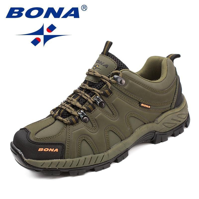 BONA nueva llegada estilo clásicos hombres senderismo zapatos Lace Up Hombre Deporte Zapatos que activan al aire libre Trekking zapatillas envío libre rápido