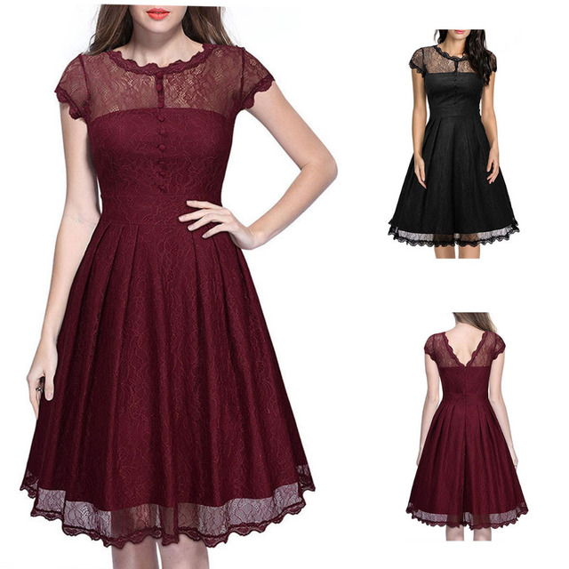 bf6f5a58da Women Vintage Style Lace 50 S 60 S Swing Pinup Retro Party Housewife Cap  Sleeve Dress