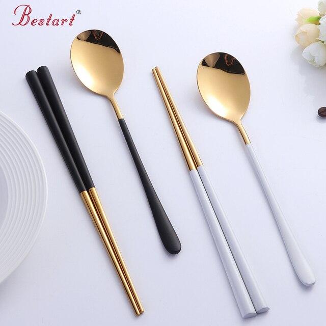 2sets Korean Spoon Dinnerware Set Stainless Steel Tableware Set Golden Hashi Chopsticks and Spoon Set Metal & 2sets Korean Spoon Dinnerware Set Stainless Steel Tableware Set ...