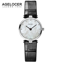 AGELOCER Switzerland Fashion Quartz Watches Women Diamonds Wrist Watch Leather Top Luxury Brand Ladies Dress Clock Female 2017
