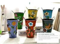 무료 배송, h16cm. 목회 그린 세- 입체 구조 철 꽃 창조적 인 홈 거실. 복고풍의 화병 꽃