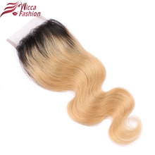 wicca fashion Ombre Lace Closure Brazilian Body Wave Closure 1B/27 Blonde Free Part 4×4 inch Two Tone Non Remy Human Hair