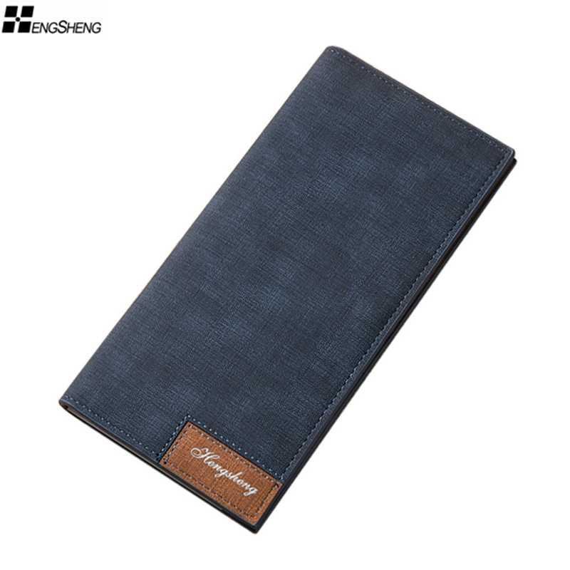 Hengsheng Brand 2018 Vintage Man Wallet Male Slim Pu Leather  Bifold Business Long Wallet Card Coin Wallet Purse cartera hombre wallet