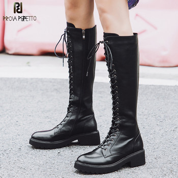Prova Perfetto Large Size 43 Lace Up Knee High Boots Women Genuine Leather Fashion White Square Heel Rubber Botas Woman Shoes