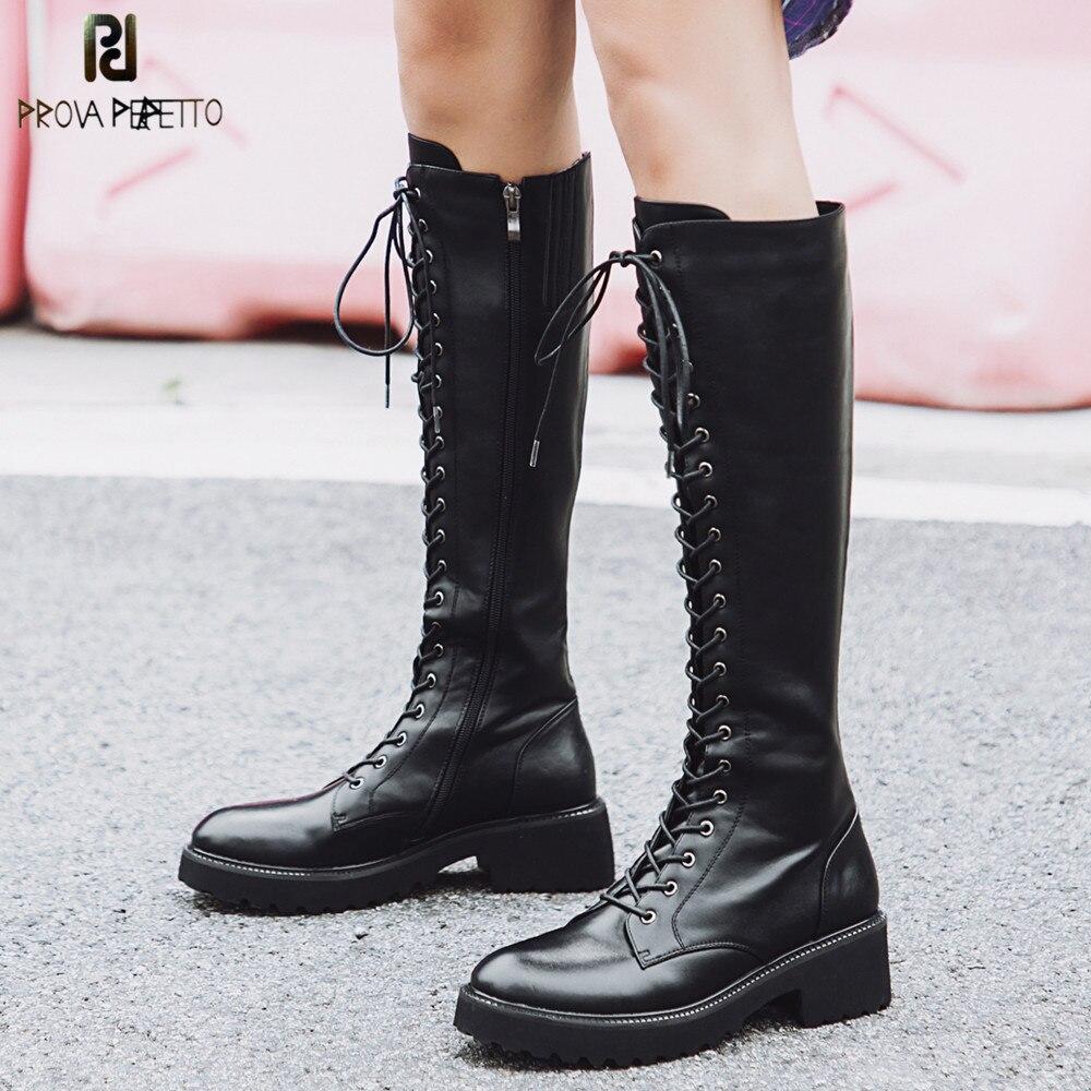 Prova Perfetto grande taille 43 bottes à lacets au genou femmes en cuir véritable mode blanc talon carré en caoutchouc Botas femme chaussures-in Bottes hautes from Chaussures    1