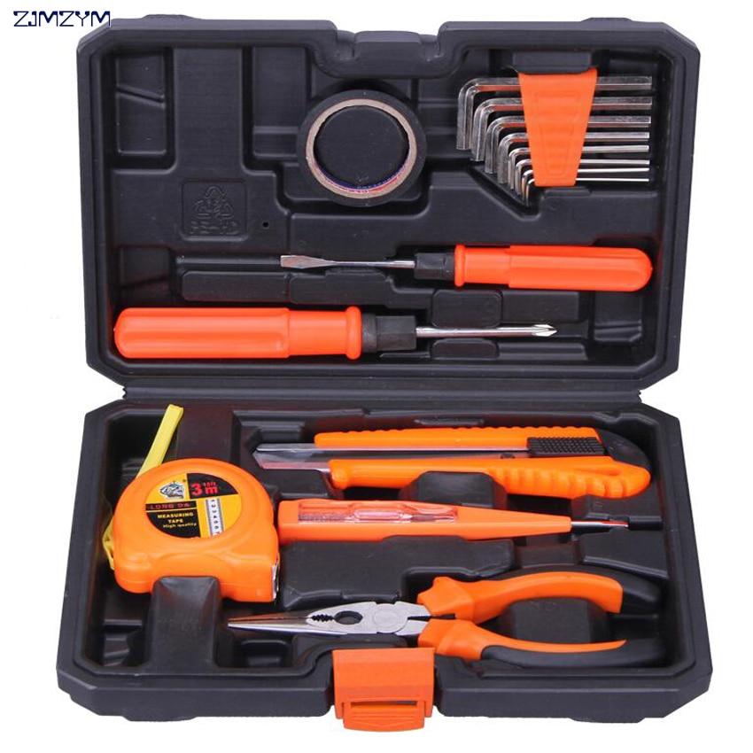 15 ühes majapidamiskomplekt Riistvara tööriistakast kruvikeerajaga, tangid, nuga, mõõdulint, elektriline pliiats koduhoolduse tööriista jaoks