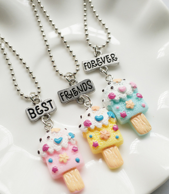 Ice Cream Necklace SET of 2 SMALL Ice Cream Charm Necklaces Pendant Necklace Best Friend Necklace Friendship Jewelry Friends Gift Sisters