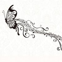 Free Shipping Butterfly Music Notes Wall sticker window sticker Wall Decor Wall Decals Glass Sticker home decoration