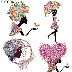 ZOTOONE Flower Girls Iron on Transfer Patches Diy Colorful Patch for T-shirt Dress Sweater Thermal Transfer Stickers on Clothing