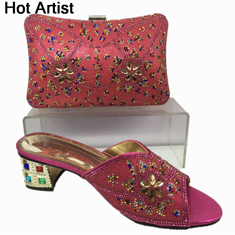 Hot Artist 2017 New African Ladies Shoes And Bag Set Fashion Rhinestones Woman High Heels Shoes And Bag Set For Party BL555C цены онлайн