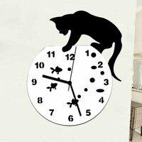 Cat Watch Wall Clock Modern Design Decorative Wall Clock Sticker Animal Kitchen Modern Home Decoration Cat Clocks