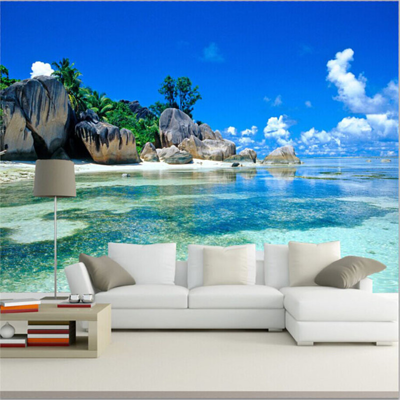 Beach wallpaper murals reviews online shopping beach for 3d mural wall art